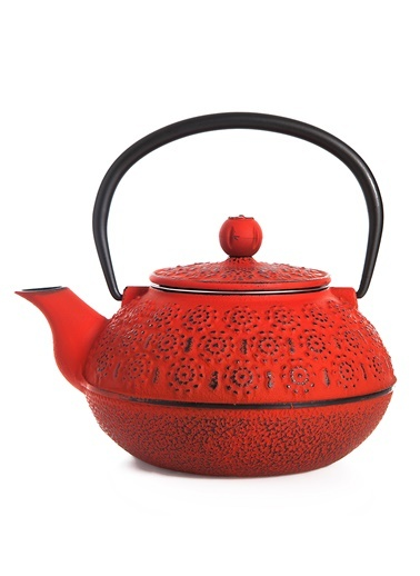 Taşev Linden - Papatya 800 ml Kırmızı Döküm Çaydanlık-Bambum